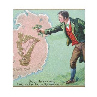 Vintage Saint Patrick's day erin's isle poster Notepad