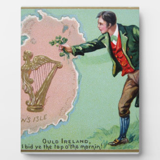 Vintage Saint Patrick's day erin's isle poster Plaque