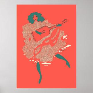 Vintage Salmon Teal Guitar Woman Musician Bold Poster