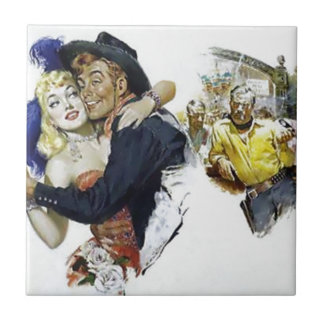 Vintage Saloon Girl Cowboy Bar Dance Fun poster Ceramic Tile