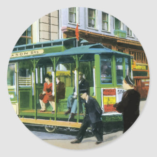 Vintage San Francisco Cable Car Round Sticker