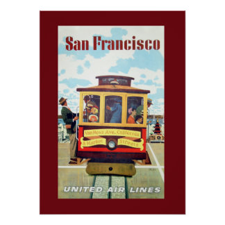 Vintage San Francisco Cable Car Travel Poster