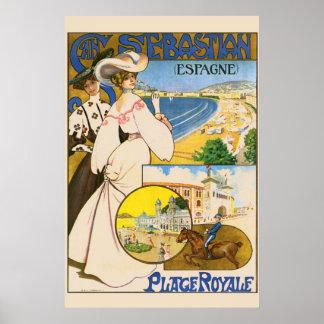 Vintage San Sebastian Spain Travel Art Poster
