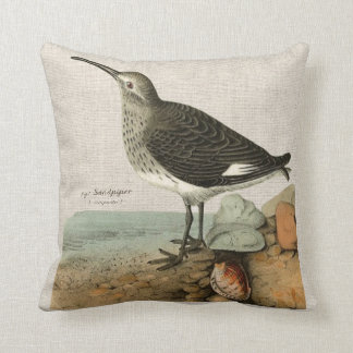 Vintage Sandpiper by the Sea Throw Pillow