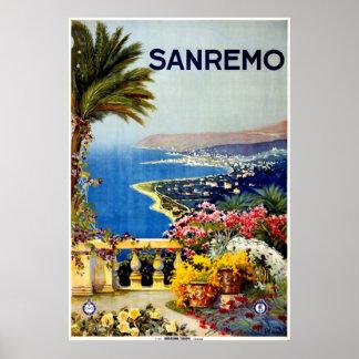 Vintage Sanremo Italy Travel Poster