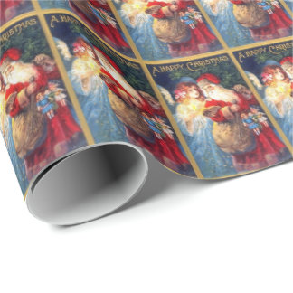 Vintage Santa and Angel wrapping paper