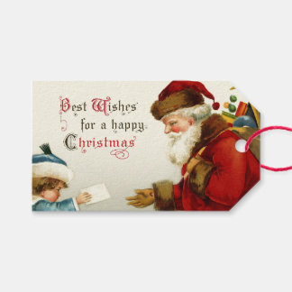 Vintage Santa and Child with Christmas Letter Gift Tags