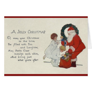 Vintage Santa and Children Christmas Greeting Card