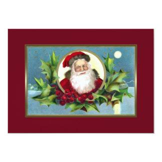 Vintage Santa and Holly 13 Cm X 18 Cm Invitation Card