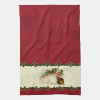 Vintage Santa and Holly Kitchen Towel