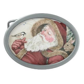 Vintage Santa and Nature s Friends Oval Belt Buckles