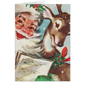 Vintage Santa and Reindeer Card