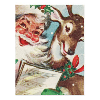 Vintage Santa and Reindeer Postcard