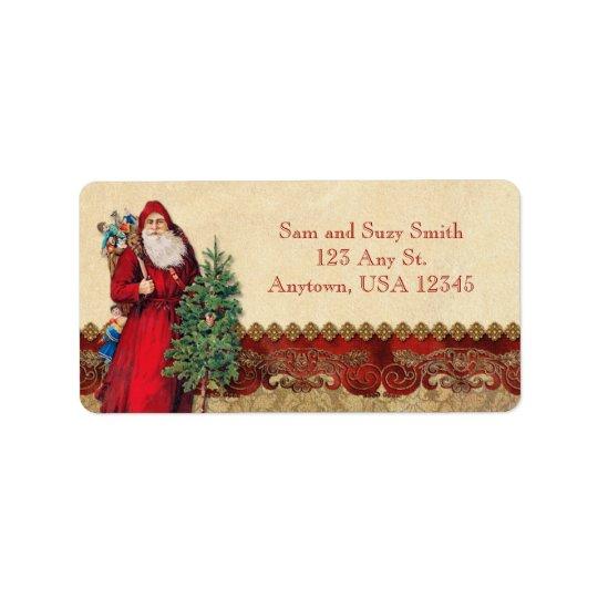 Vintage Santa and Tree Address Label