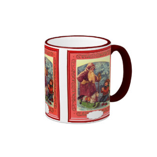 Vintage  Santa at the Christmas village Coffee Mugs