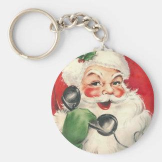 Vintage Santa Basic Round Button Key Ring