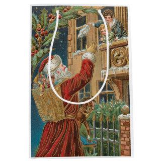 Vintage Santa Bringing Presents Personalized Medium Gift Bag