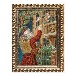 Vintage Santa Bringing Presents Postcard