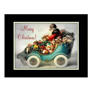 Vintage Santa Car Sleigh -Postcard Postcard