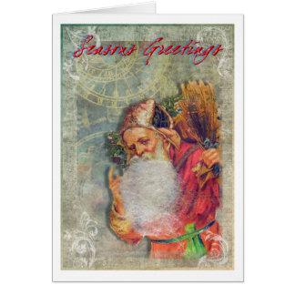 Vintage Santa card with steampunk twist