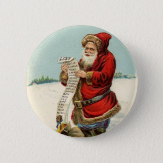 Vintage Santa Checking his List! 6 Cm Round Badge