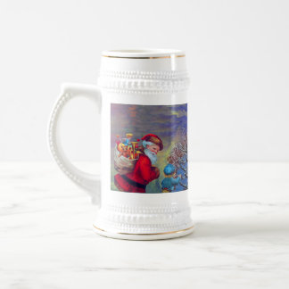 VINTAGE SANTA ,CHILD AND WINTER TREE Christmas Beer Stein