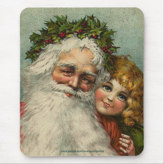 Vintage Santa & Child Father Christmas Mousepad