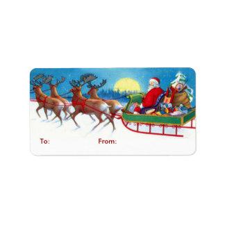 Vintage Santa Christmas Gift Tags Address Label