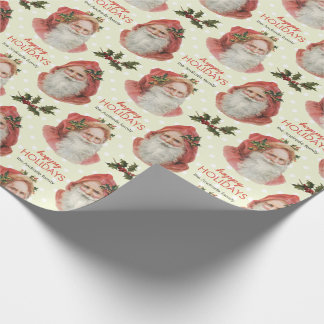 Vintage Santa Christmas Holly Green Personalized Gift Wrap Paper