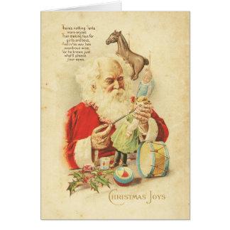 Vintage Santa Christmas Joy Holiday Wishes Toys Greeting Card