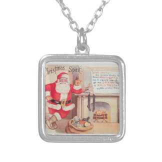 vintage-santa-christmas-post-cards-0355 silver plated necklace