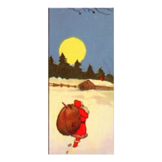 Vintage Santa Christmas Scene Bookmarks Rack Card