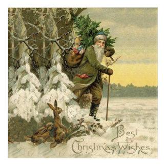 Vintage Santa Christmas Tree Victorian Acrylic Wall Art