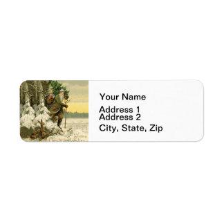 Vintage Santa Christmas Tree Victorian Return Address Label
