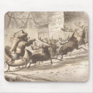 Vintage Santa Claus and Reindeer Illustration Mouse Pad