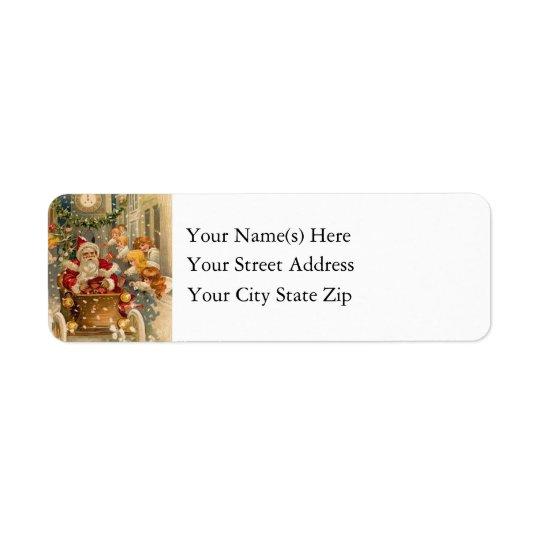 Vintage Santa Claus Arrives in Model T Return Address Label