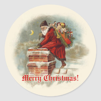 Vintage Santa Claus at the Chimney Christmas Classic Round Sticker