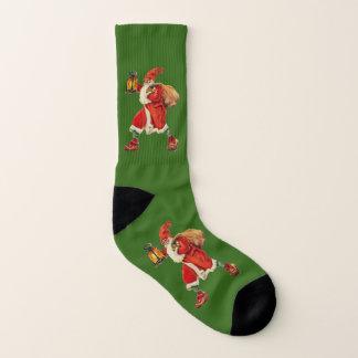 Vintage Santa Claus carrying lantern green Socks