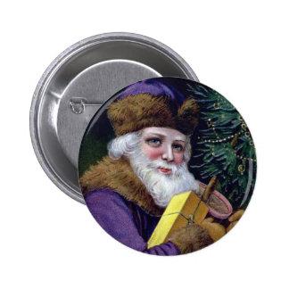 Vintage Santa Claus Christmas Button Pin - Purple