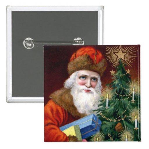 Vintage Santa Claus Christmas Button Pin Square