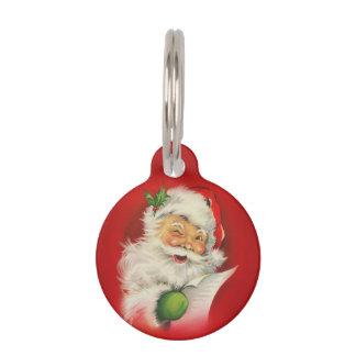 Vintage Santa Claus Christmas Pet Name Tag