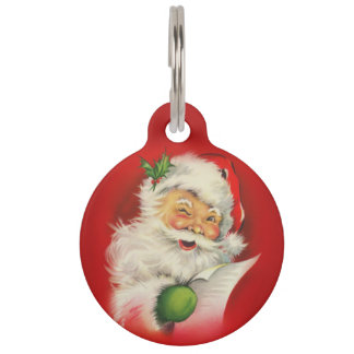Vintage Santa Claus Christmas Pet Tag