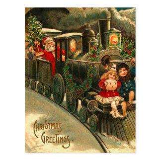 Vintage Santa Claus Christmas Train Postcard