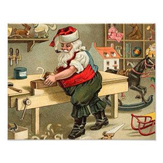 Vintage Santa Claus Christmas Workshop Art Photo