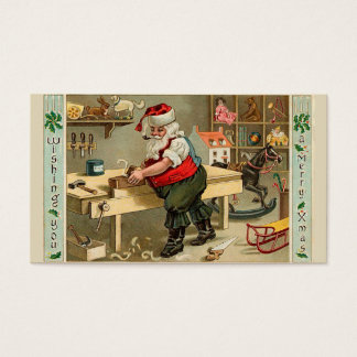 Vintage Santa Claus Christmas Workshop Business Card