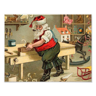 Vintage Santa Claus Christmas Workshop Photo Art