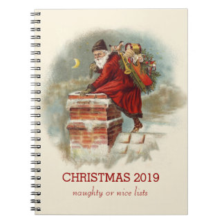 Vintage Santa Claus climbing into a chimney Spiral Notebook