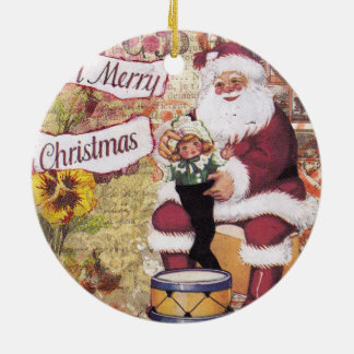 Vintage Santa Claus collage ornament