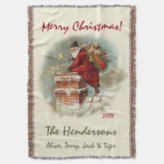 Vintage Santa Claus Custom Christmas Throw Blanket