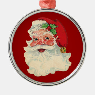 Vintage Santa Claus Face Ornament Merry Christmas Silver-Colored Round Ornament